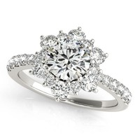 Diamond Halo Engagement Ring - Snowflake