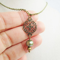Bronze Filigree Diamond & Pale Green and Gold Freshwater Pearl Victorian Style Necklace