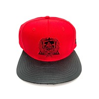 Secret Society Red Eye Logo Snakeskin Brim Strapback Hat Red Black