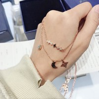 HCXX 030 Swarovski Crystal Two-in-One Star-Moon Double Rose Gold Necklace Set