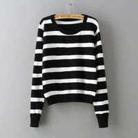 Stripe Print Long-sleeve Pullover Shirt