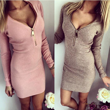 Tight package hip screw v-neck zipper open chest warm long-sleeved dress