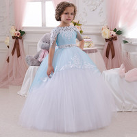 FG1004 Ball Gown Blue And White Lace Flower Girl Dresses 2016 Cheap Plus Size Half Sleeve Princess Child First Communion Dresses