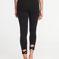 High-Rise 7/8-Length Knotted-Hem Yoga Leggings for Women |old-navy