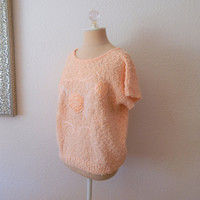 Vintage 80s Peach Knit Batwing Short Sleeve Womens Embellished Floral Top