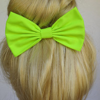 Neon Green Bow for girls hairbows bows for hair accessories handmade Bow green Hair Clips light green hair bow for woman accessories fashion