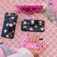 New For iPhone X /8 plus kitty case stand support matte Shell phone Cover for iPhone 7 plus / 8/6 6SPlus hello kitty Wrist strap