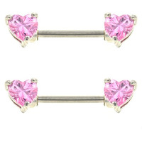 Pair of 2 Stainless Steel Nipple Ring Barbells w/Heart Shaped Pink Gem Ends - 14G 9/16""