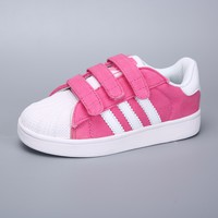 Adidas Superstar White Pink Multi Velcro Toddler Kid Shoes - Best Deal Online