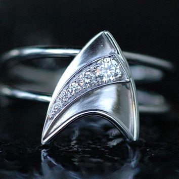 14K White Gold Engagement Ring with 5 Diamonds Star Trek Insignia, Shooting Star Inspired Made To Order
