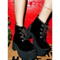 VELVET LACE-UP NOSEBLEED BOOTS