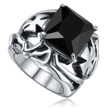 Stainless Steel Black Cubic Zirconia and Cross Ring