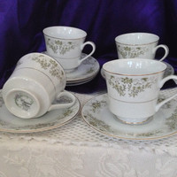 Crescent China Teacups, Pickadilly 5713, Olive Green and White Floral Swag, Set of Four Mid Century, Tea, Coffee Set, Japan, Discontinued