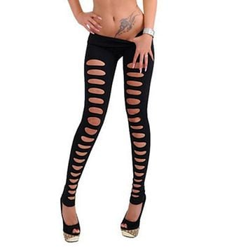 Women Lady Skinny Candy Color Jeggings Stretchy Sexy Hole Leggings Pants