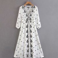 Summer new bohemian ethnic style vintage embroidered ruffled dress