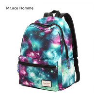2017 women new fashion casual backpack new style nylon 3D Galaxy printed school bags famous designer brand backpack for girls
