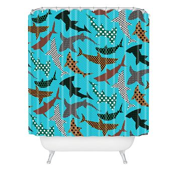 Raven Jumpo Polka Dot Sharks Shower Curtain