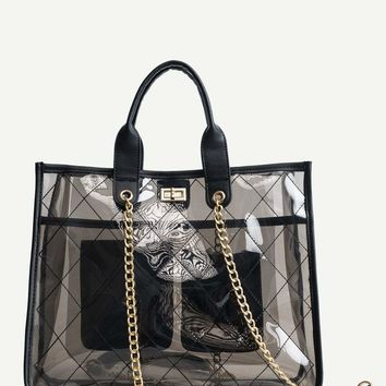 PVC Chain Bag With Inner Pocket