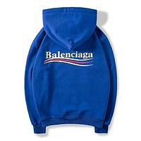 Balenciaga Autumn Winter Trending Women Men Stylish Print Hoodie Sweater Top Sweatshirt Blue