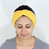 SALE Yellow Headband Hand Knitted Headband Yellow Knit Hair Accessories Yellow Knit Accessories Headband Yellow Accessories Knitted By Hand