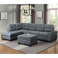 Sectional Sofa Sets with Chaise Lounge and Ottoman Storage 3-seat Sofa Couch for Living Room (Dark Gray)