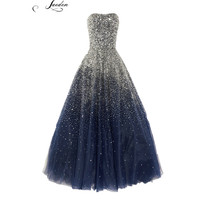 L295 Fashion Blue black beading luxuru long evening dresses 2015 formal party women prom dresses custom size plus size
