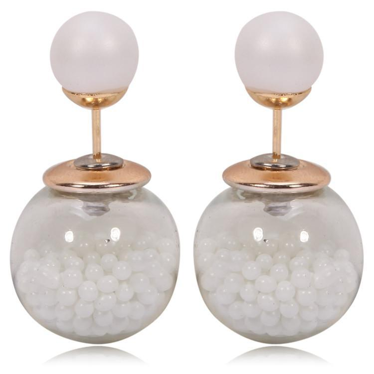 Image of Gum Tee Tribal Earrings - Caviar Collection White