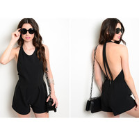 Sleeveless Exposed Back Romper
