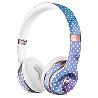 Micro White Polka Dots Over Blue Watercolor Grunge Full-Body Skin Kit for the Beats by Dre Solo 3 Wireless Headphones