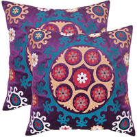 Safavieh Home Furniture PIL164A-2222-SET2 Vanessa 22-Inch Gold and Purples Decorative Pillows - Set of Two