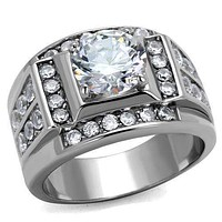 Cool Mens Rings TK2305 Stainless Steel Ring with AAA Grade CZ
