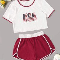 Letter Print Contrast Binding Tee With Track Shorts