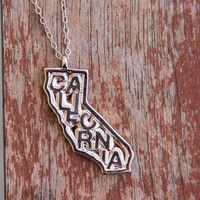 Silver California Letter Necklace