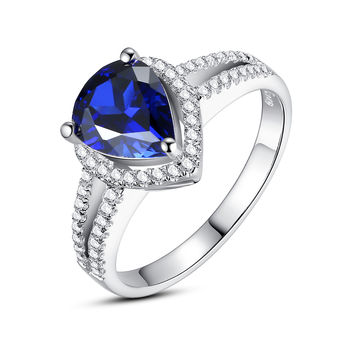 Sterling Silver 2.5 Carats Teardrop Sapphire Ring