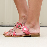 Two Strap Preppy Sandal - Coral