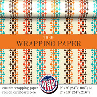 Gift Wrapping Paper 1960's Inspired Pattern | Orange Brown Blue Ivory Custom Gift Wrap In Two Sizes Great For Any Occasion. Made In The USA