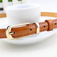 Candy Color Metal Buckle Thin Casual Belt For  Women , Leather Belt Female Straps Waistband Cummerbund For Apparel Accessories
