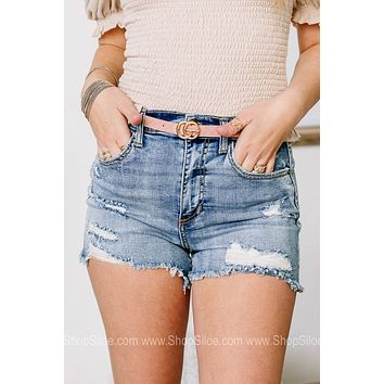 Full Of Opportunity Distressed Denim Shorts