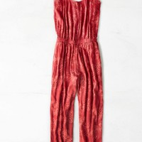 AEO Women's Floral Jumpsuit (Red)