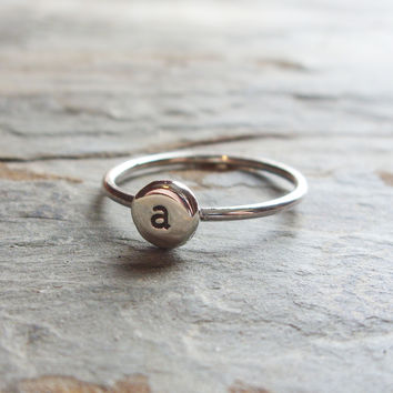 Pebble Monogram Signet Ring - Initial Stacking Ring in Sterling Silver