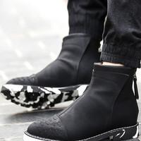 Pointed Toe PU Leather Boots