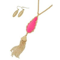 Sassy Tassels Necklace - Hot Pink