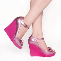 Don't Be Jelly Wedge in Glitter Pink
