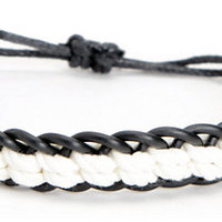 Fad Treasures Large Black & White Braided Bracelet
