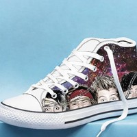 5 seconds of summer face galaxy High Top Canvas Shoes
