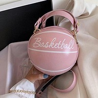 Basketball Shape Small Leather Chain Design Crossbody Bags For Women Shoulder Messenger Female Luxury Handbags and Purse