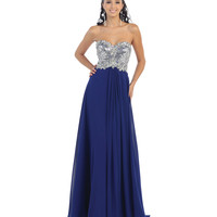 Midnight Blue & Silver Strapless Gown 2015 Prom Dresses
