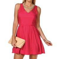 Sale-hot Pink Cutout Skater Dress