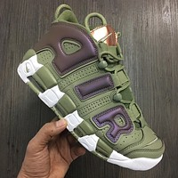 Bunchsun Nike Air More Uptempo New Fashion Letter Hook Sports Leisure Shoes Army Green