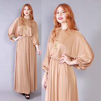 Vintage 70s MAXI DRESS / 1970s Dramatic Nude Draped Full Length Dress with Sheer Lace